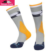 Indiana Paul George Gray Yellow Basketball Socks Terry Anti-friction Compression Socks Nakefit Crew Sox for Men
