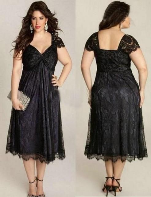 Elegante Plus Size Mãe Da Noiva Vestidos V Cap Neck Black Lace Curto Mãe do Comprimento Do Chá Vestido Robe Mere De La Mariee