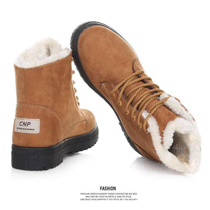 Image 5 - OneBling Platform Flat Martin Boots 2019 Winter Short Plush Warm Fur Lace Up Ankle Boots Women Plus Size Female Snow Booties-in Ankle Boots from Shoes