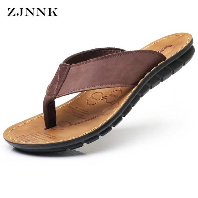50c8cecd7586 ZJNNK Cow Leather Men Beach Slippers Fashion Flip Flops With Soft Sole  Trendy Breathable Easy To