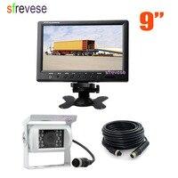 9 Car LCD Monitor + White 4Pin Night Vision Parking Backup Reversing Camera Free 15M cable for Bus Truck parking camera kit