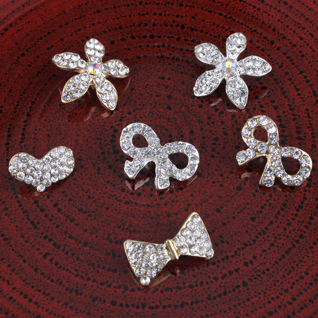 30pcs Bows heart seafish Vintage Metal Rhinestone Buttons Bling Alloy  Crystal Shank Flower Centre 20410d1b79c2