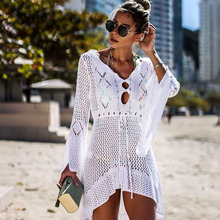2019 New Beach Cover Up Bikini Crochet Knitted Beachwear Summer Swimsuit Cover Up Sexy See-through Beach Dress