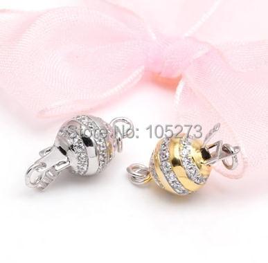 Con broche de bola de inserción de circonio, collar de cristal de perla natural de alta calidad de plata 925 de 10mm, ¿Pulsera broche? -L59A