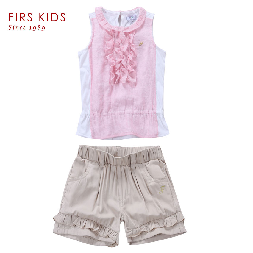 2016 new kids girl summer clothing set short sleeve pink T-shirt + shorts girl's clothes sets summer suit for girls -40