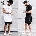 Лето стиль мужчины золото сторона молния футболка уличная стиль хип-хоп футболки модная одежда дизайнер добычу футболка