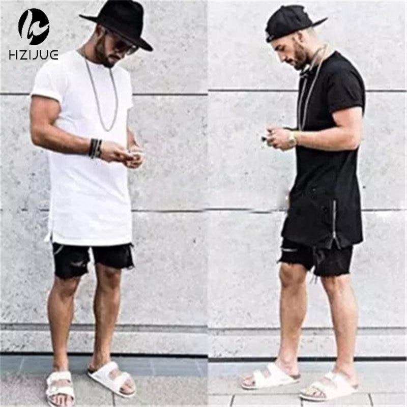 Летняя Стильная мужская футболка hhouue с золотой молнией сбоку, уличная одежда, стильные футболки в стиле хип-хоп, модная одежда, дизайнерская...