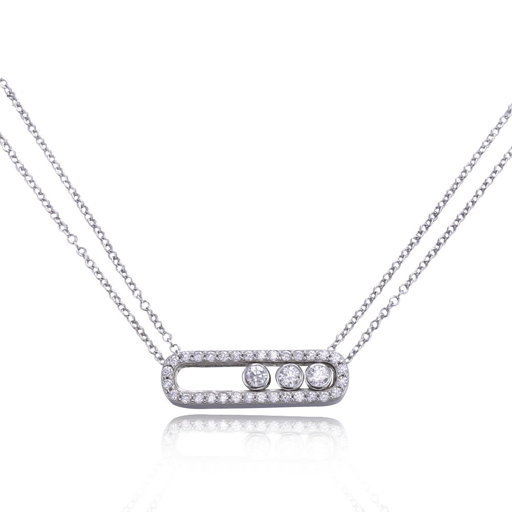 Famous Brand font b Jewelry b font 100 Real Pure 925 Sterling Silver Move Zircon Necklace
