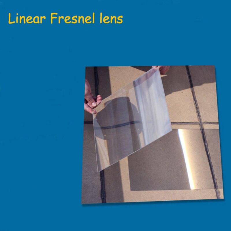 1 PC optique PMMA plastique linéaire Fresnel lentille projecteur Fresnel lentille avion loupe, concentrateur d'énergie solaire