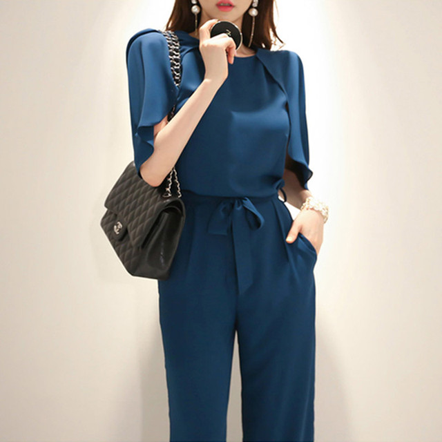 2b0ce91f6deb Rompers womens jumpsuit cape sleeve clock o-neck Noble Royal blue dungarees  bow Lacing belt