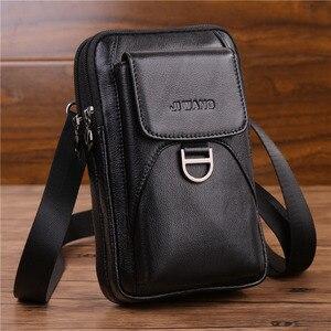 Image 2 - Bolsa de cintura masculina crossbody fanny bolsa de couro genuíno moda celular caso do telefone móvel mensageiro bolsa de ombro masculino cinto gancho pacote