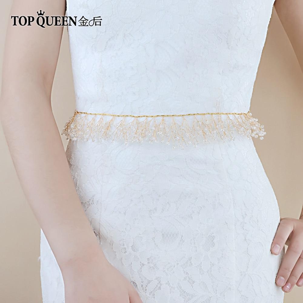 TOPQUEEN SH70 Woman Party Belts Evening Dress Belt Crystal Wedding Belt  For Dresses Bridal Accessories Gold Bridal Belt