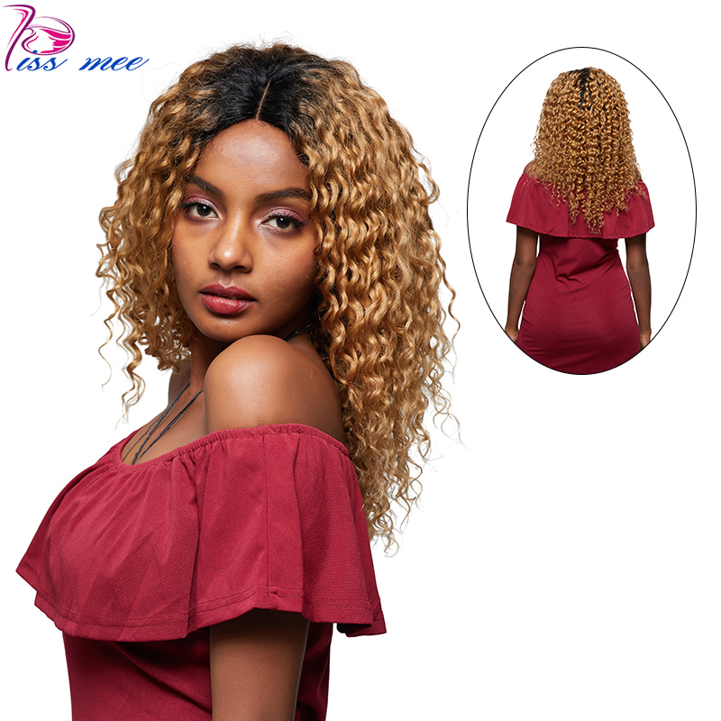 KISSMEE Deep Wave Lace Front Wigs For Black Women 1B#27 Blonde Ombre Lace Wig 10-32inches Brazilian Remy Hair With Baby Hair
