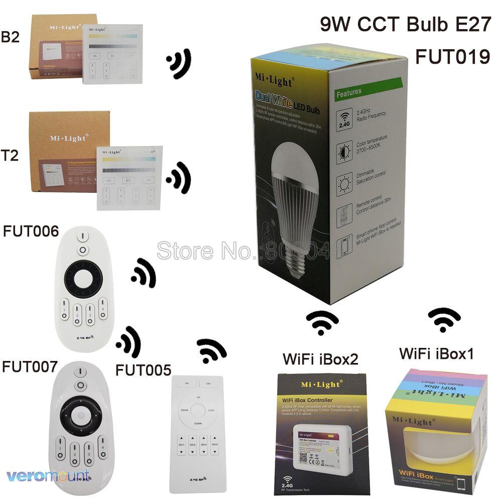 MiLight LED Bulb E27 9W Color Temperature Adjustable Smart LED Spotlight FUT019 AC110V 220V 2.4G Wireless Remote Android/iOs APP milight 5w gu10 dual color temperature led bulb spotlight without remote