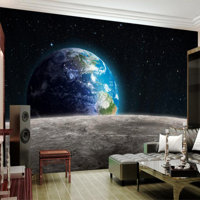 Customize 3D HD photo wallpaper Star Earth 3D universe Moon made from large Bedroom restaurant TV backdrop mural modern painting book knowledge power channel creative 3d large mural wallpaper 3d bedroom living room tv backdrop painting wallpaper