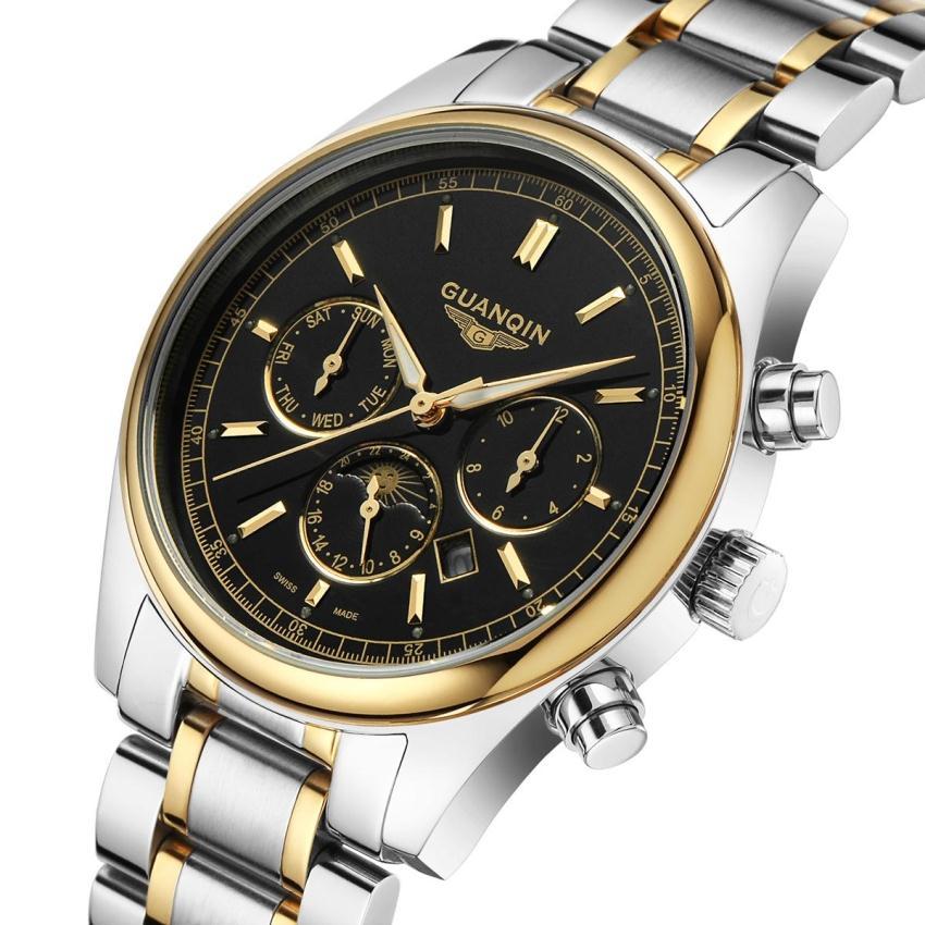 ФОТО Watch Fashion Men Full Stainless Steel Watch Famous Brand GUANQIN  luminous waterproof watch Men business Quartz Wristwatch