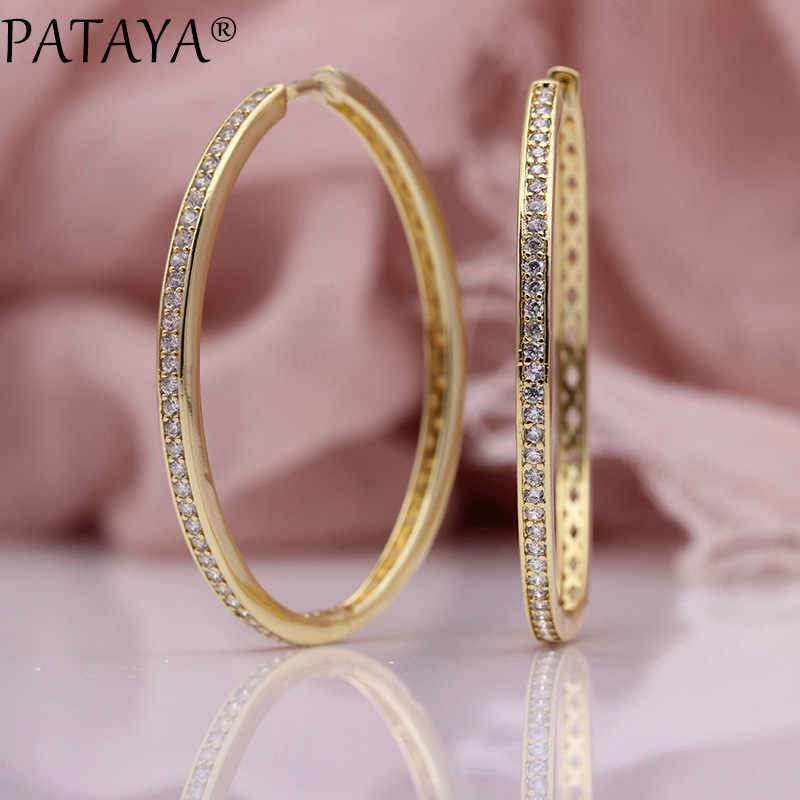 PATAYA New Big Circle Earrings Women Fashion Luxury Hollow Fine Jewelry 585 Rose Gold White Natural Zircon Oval Dangle Earrings