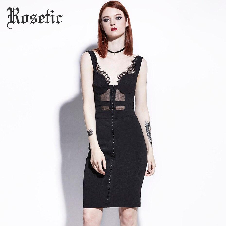 Rosetic Gothic Wild Leak Back Sleeveless Perspective Mesh Black Strapless Summer Lace Sexy Slim Women Dresses