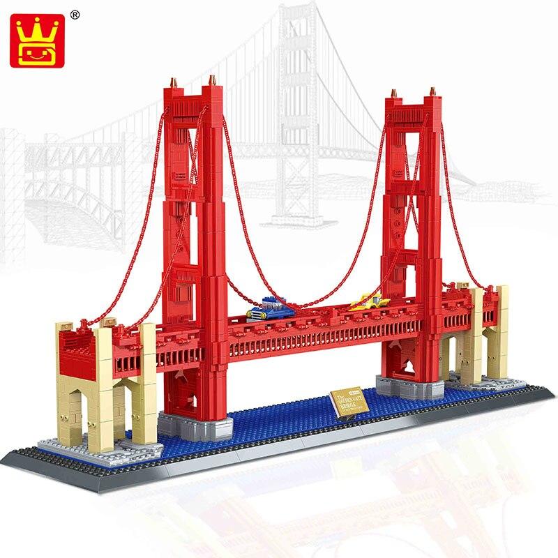 Международно известная архитектура 1977 шт. Wange Блоки Золотые ворота мост Модель Строительные кирпичи набор «сделай сам» для сборки игрушек д... - 2