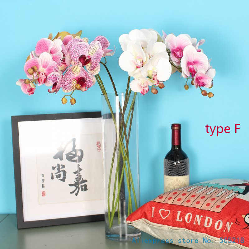 1 Stem Silk Flower Artificial Moth Orchid Butterfly Orchid for new House Home Wedding Festival Decoration 6 types 12 Colors F152