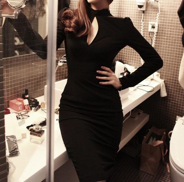 Black bodycon keyhole dress