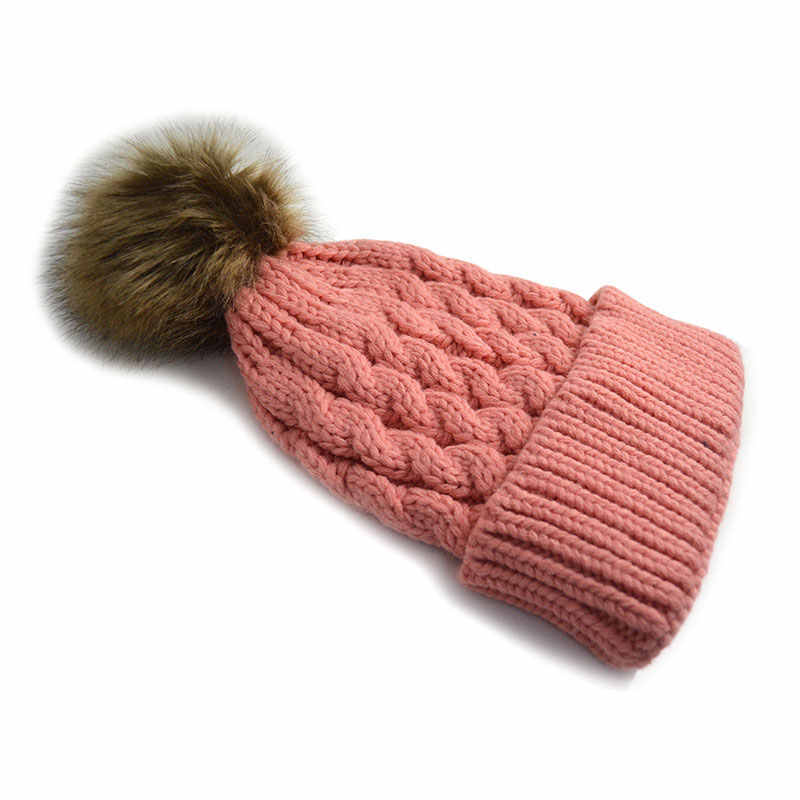 9b7dfb72741 ... Faux Fur Pom Pom Beanie Hat for Women Cable Knitted Winter Hats Female Cap  Warm Skullies ...