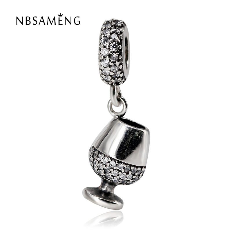 Authentic 100% 925 Sterling Silver Beads Charm Wine Glass Pendant With Crystal Fit Pandora Bracelets Bangles Women DIY Jewelry