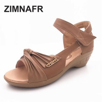 Summer New Leather With Casual Cowhide Slope With Female Sandals Waterproof Platform Open Toe Large Size