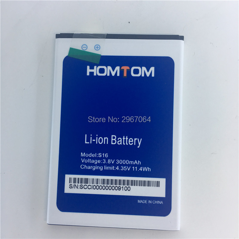 Mobile phone <font><b>battery</b></font> for <font><b>HOMTOM</b></font> <font><b>S16</b></font> <font><b>battery</b></font> 3000mAh 5.5inch MTK6580 High capacity for <font><b>HOMTOM</b></font> Mobile Accessories image