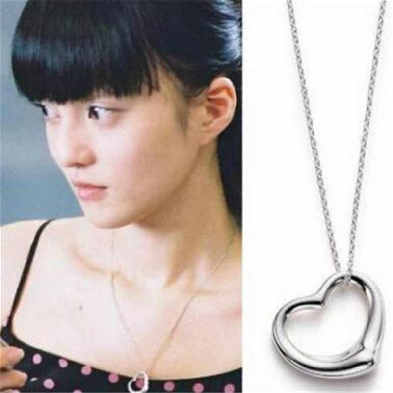 مجوهرات Lusion كورية أنيقة فضية اللون على شكل قلب وقلائد سلاسل وقلادات ماكسي للسيدات بيجو فيم