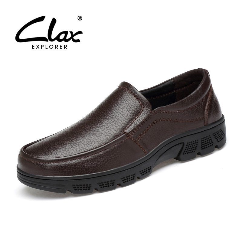 CLAX Mens Formal Shoe Spring Autumn Genuine Leather Male Dress Shoes Slip on Office Oxford Wedding Footwear Large Size clax men shoes luxury brand loafers genuine leather male driving shoes slip on black dress shoe moccasin designer classical