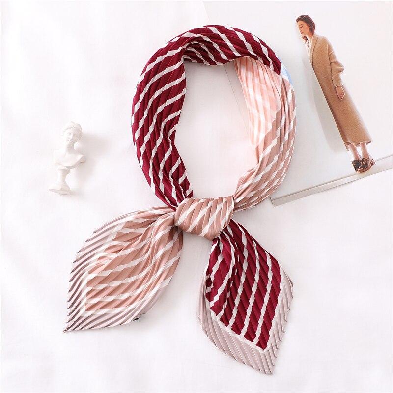 Designer Small Crinkle Scarf Women Square Silk Neck Scarfs Pleated Print Luxury Brand Scarves For Ladies Hairband Foulard