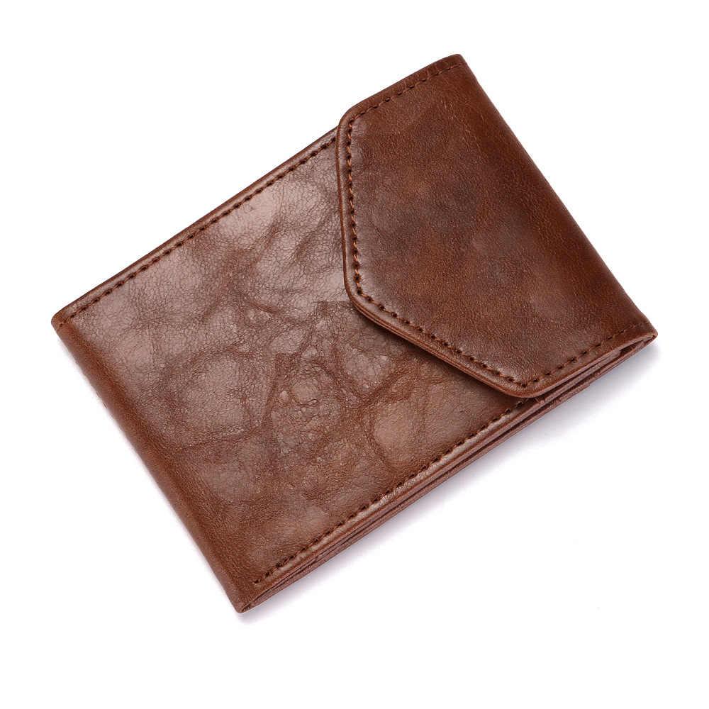 Cartera de marca de cuero eTya para hombre, Cartera de moda Vintage, monederos finos para hombre, bolsa de dinero Casual, carteras con portatarjetas de alta calidad