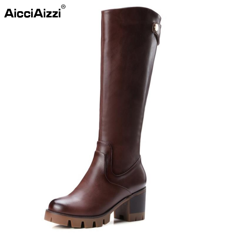 Women Round Toe Platform Knee Boots Woman Round Toe Square Low Heel Shoes Ladies Brand Vintage Boot Bootines Mujer Size 32-42
