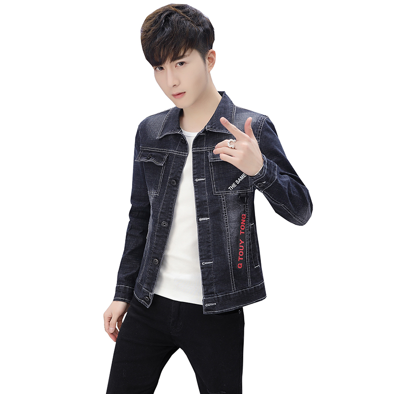 Solid Casual Slim Mens Denim Jacket Bomber Autumn Jacket Men High Quality Cowboy Mens Jean Jacket coat