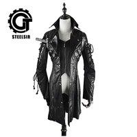 Осень и зима пальто Лолита свободные кожаная куртка готический дворец ретро в Длинные Нерегулярные Мужской воротник
