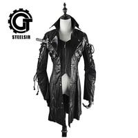 Пальто осень зима Лолита свободные кожаная куртка готический дворец ретро в долгосрочной неправильной мужской воротник пальто