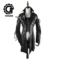 Autumn and winter coat Lolita loose leather jacket Gothic palace retro in the long irregular male coat collar