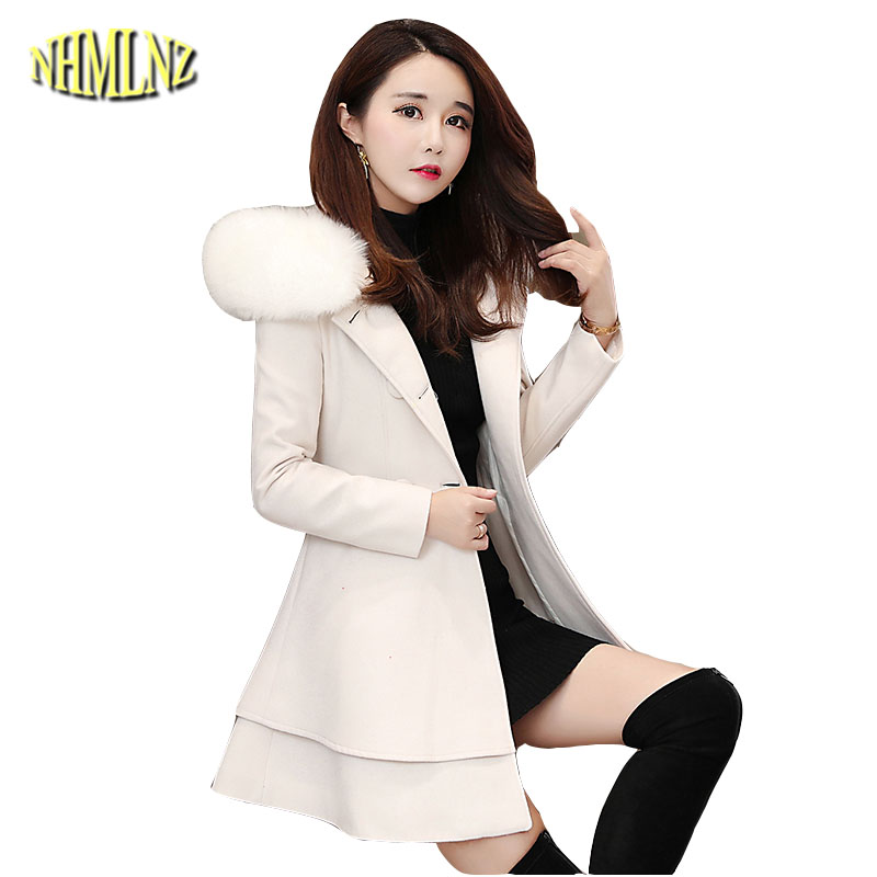 Winter Fashion Fur collar Women's Woolen Coat 2019 New Medium long Solid color Long sleeved Hooded Women's Woolen Coat LH223