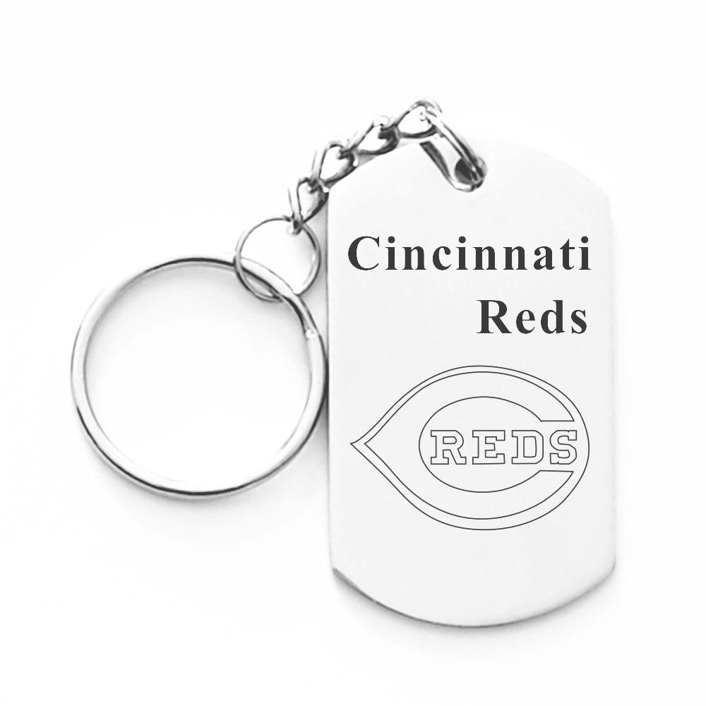 Cincinnati Reds Team Keychains Stainless Steel Dangle Pendant Keyring For women