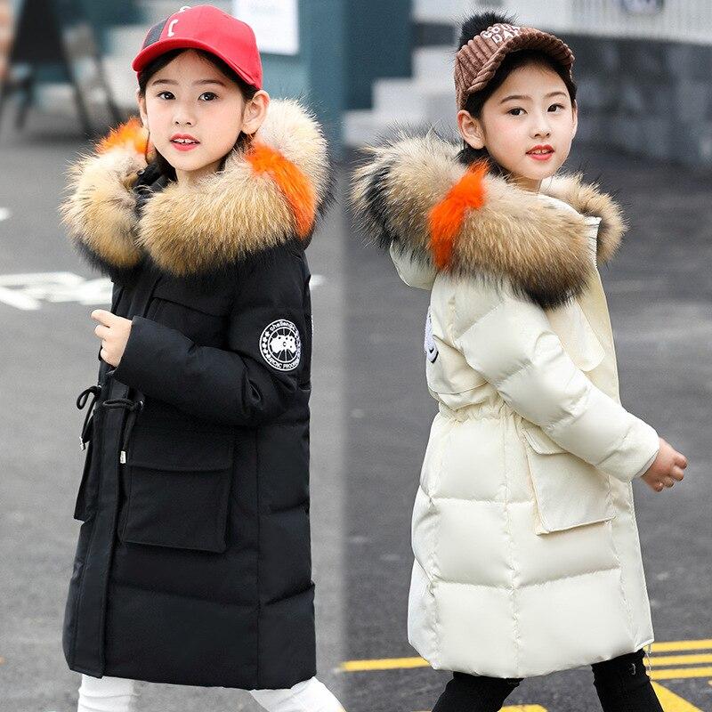 HSSCZL Girls Duck Down Jackets 2019 Brand Long Winter Girl Down Coat Natural Fur Collar Hooded