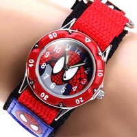 Cartoon Spiderman Children Watches Fashion Boys Kids Students Wristwatch Luminous Nylon Sports Watches Analog