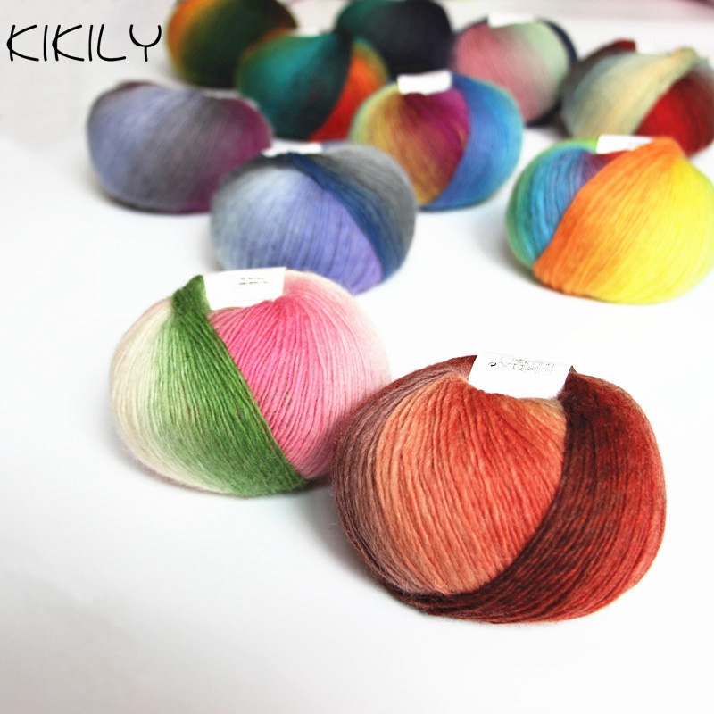 1Ball x50g Knitted Chunky Hand-woven Woolen Rainbow Wool Colorful Knitting Scores Wool Yarn Needles Crochet Weave ...