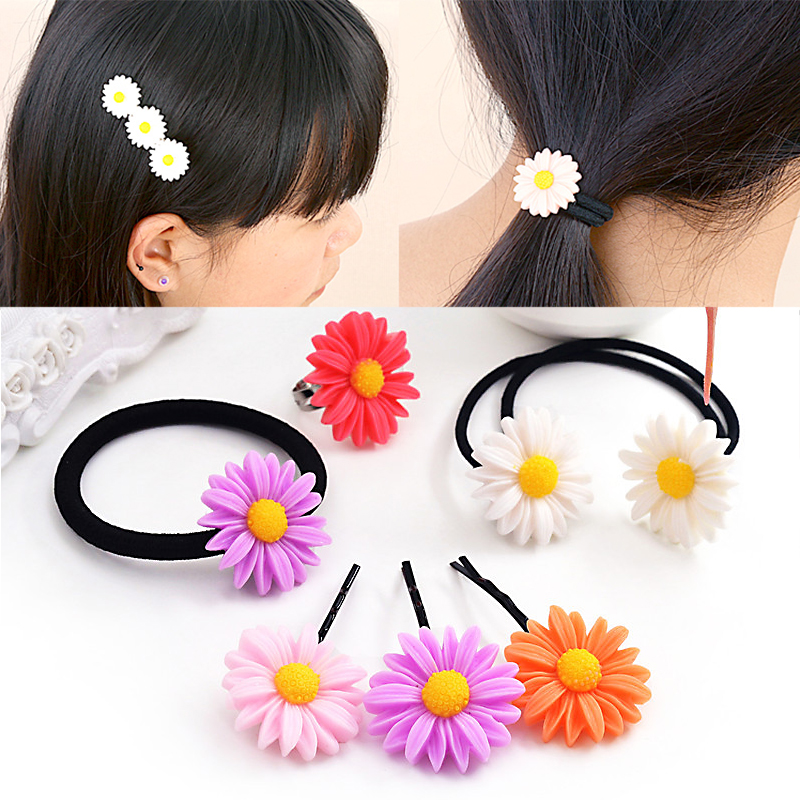 1PC New Cute Women Girls Colorful Sun Flower Hair Band Hair Clip Hair Rope 5Colors 1pc new cute women girls colorful sun flower hair band hair clip hair rope 5colors