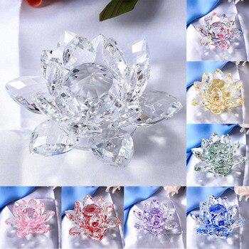 Figuras coleccionables de cristal, modelo de flor de loto, centros de mesa para bodas