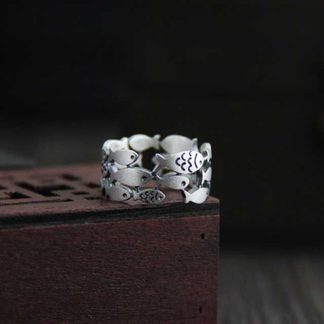 925 Sterling Silver Swimming Fish Ring 4