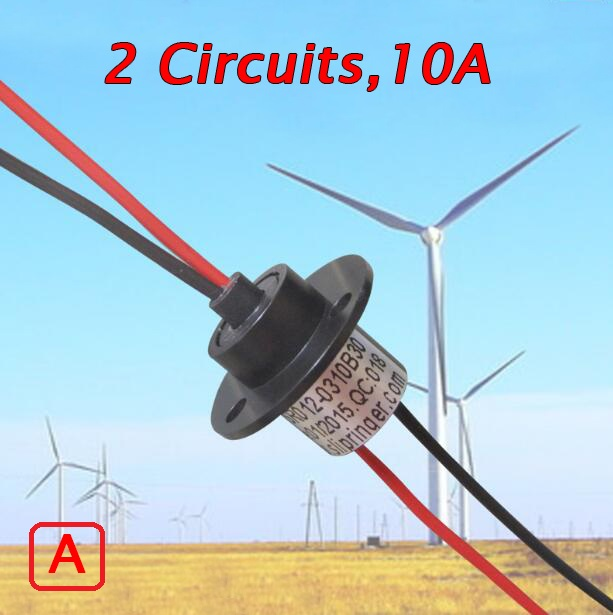 Free Shipping Wind Power Slip Ring 2 Circuits 10A Conductive Slip Ring Collecting Ring Spare Parts Diameter 12.6mm 5pcs 2 wires circuits 30a 22mm wind generator slip ring wind turbine slip ring rotating connector capsule slip ring