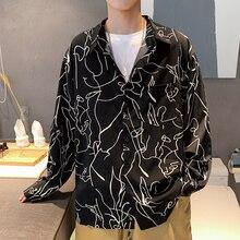 Fashion Printed Men Shirts Casual Loose Japan Style Men Long