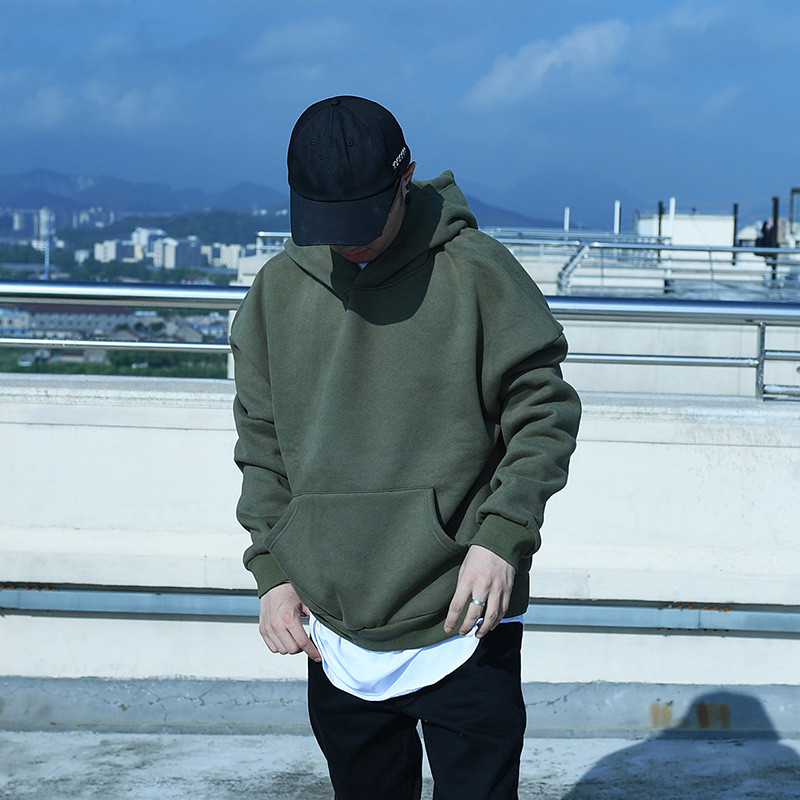 352b2b00 good quality oversize hip hop hoodies Autumn And Winter fleece WARM mens  kanye west hoodie sweatshirt swag solid Olive pullover
