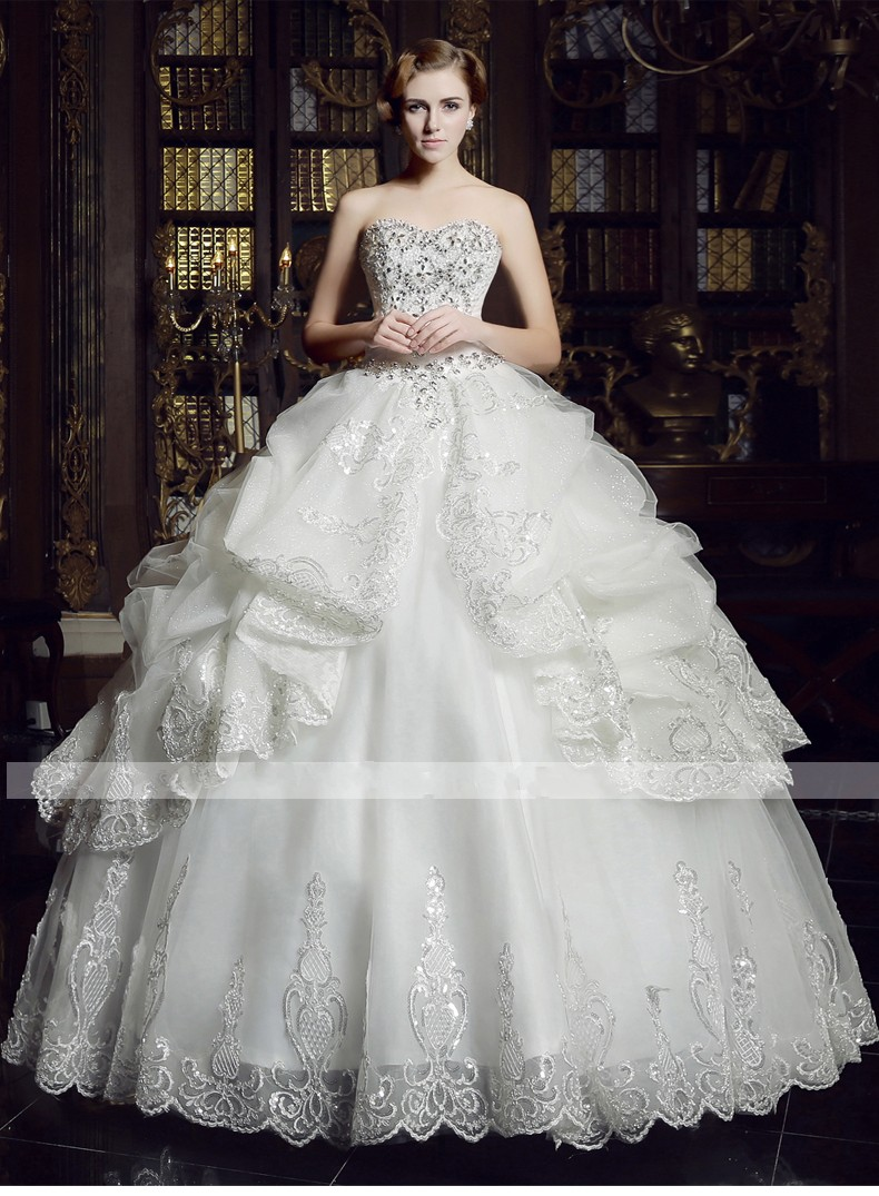 Buy luxury crystal beadings ball gown for Luxury ball gown wedding dresses